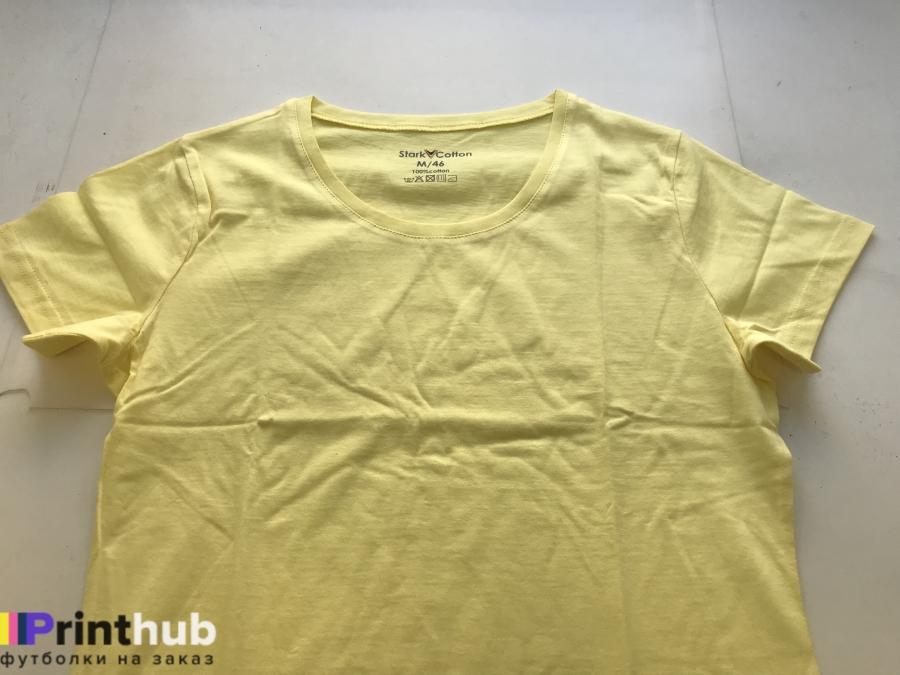 Женская желтая футболка хлопок