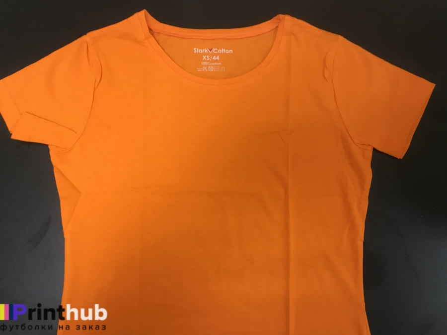 Женская оранжевая футболка хлопок